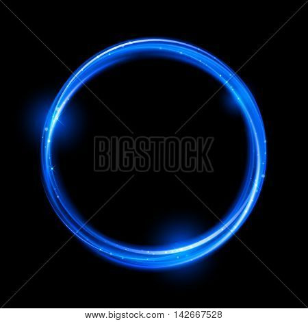 Blue neon magic glowing light. Glow swirl effect wave. Glitter magic sparkle swirl trail effect on transparent background. Bokeh glitter round wave line with flying sparkling flash lights