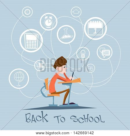 Schoolboy Sit School Desk Abstract Education Background Concept Flat Vector Illustration