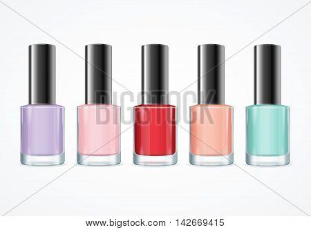 Colorful Nail Polish Bottle Set. Various Colors. Vector illustration