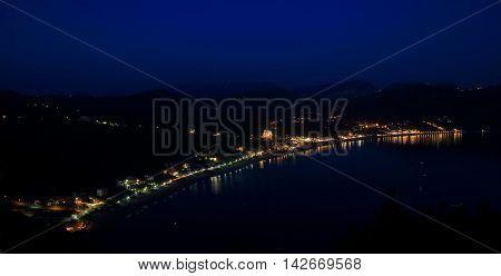 View On Agios Georgios Pagon On Corfu Island By Night