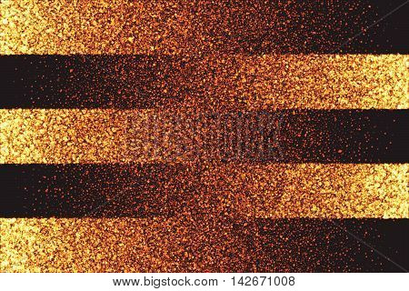 Abstract bright golden shimmer glowing round particles diffusion vector background. Scatter shine tinsel light explosion effect. Burning sparks. Celebration, holidays and party illustration poster