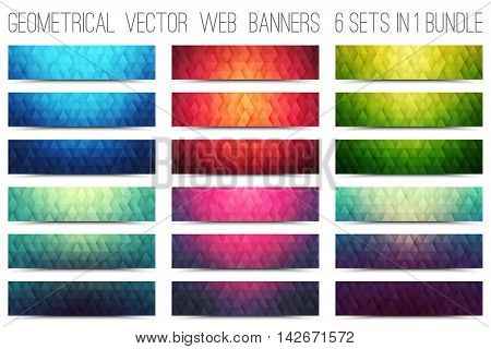Bundle of abstract triangular structure 3d vector retro design colorful web banners set for business, internet, advertising, design, ui, seo