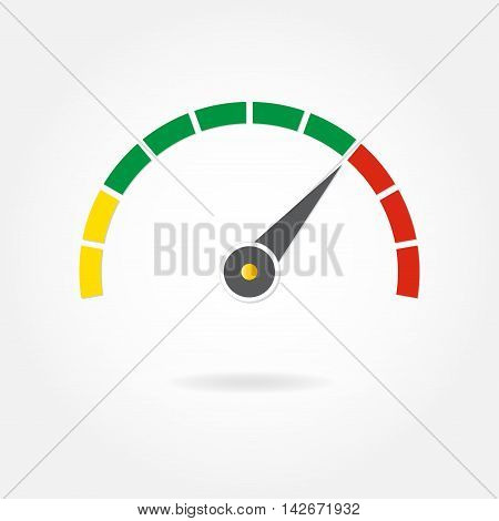 Speedometer or meter with arrow. Gauge element icon. Template for download design. Colorful vector illustration in flat style.