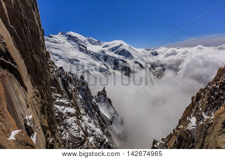 View of the Alps from Aiguille du Midi mountain in the Mont Blanc massif in the French Alps