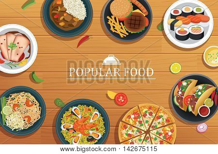 popular food on a wooden background.Vector popular food top