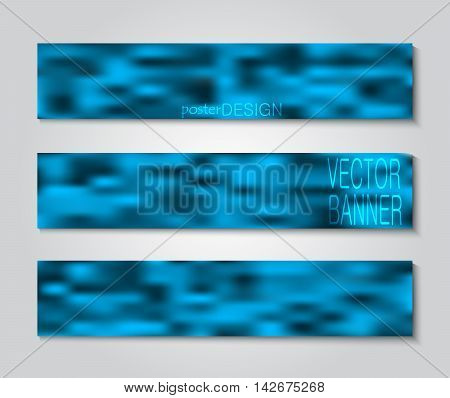 Set blurry backgrounds for creative design. Collection banners, posters, covers in blue tones.