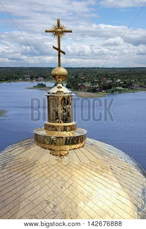 Monastery Nilov. View of a cross and dome of a cathedral and lake Seliger. Russia