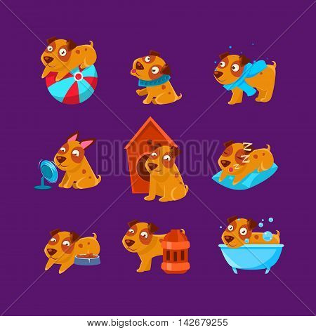 Pet Puppy Everyday Activities SetOf Silly Childish Drawings Isolated On Purple Background. Funny Animal Colorful Vector Stickers Set.
