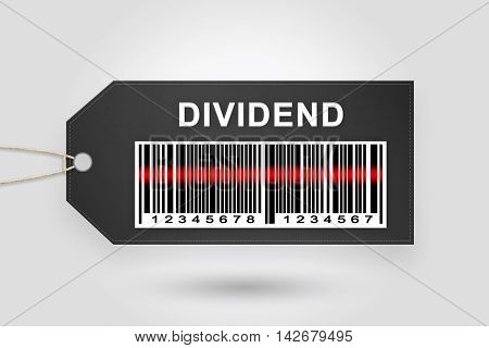 dividend price tag with barcode and grey radial gradient background