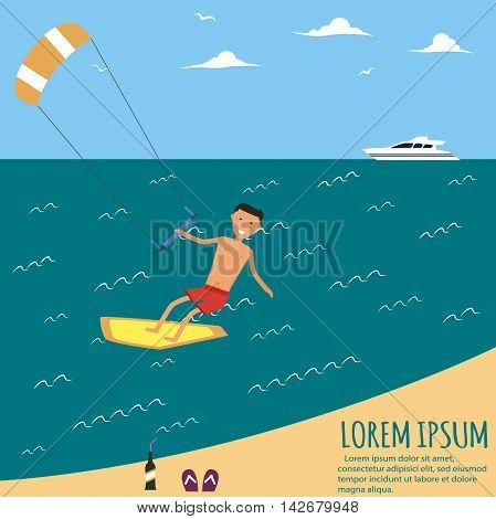 Male kitesurfer riding on waves in the sea. A surfer catches a huge wave. Surfing character. Cute surfer. Vector illustration in flat. Summer vacation background