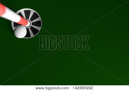 3D rendering of golf ball hole in one background.