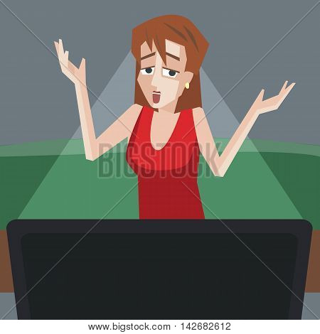 woman watching tv with bad emotions - funny cartoon vector illustration