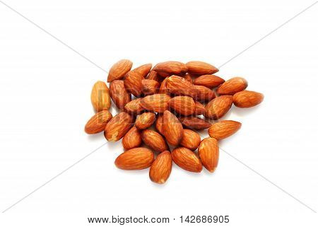 A Pile of Raw Almonds Over White