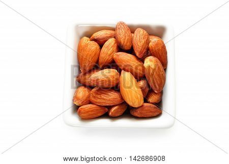 Whole Almonds in a White Square Bowl