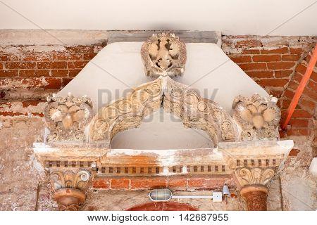 Fragment decor Royal palace of Queen Maria Romanova in Savvino-Storozhevsky monastery Zvenigorod Russia