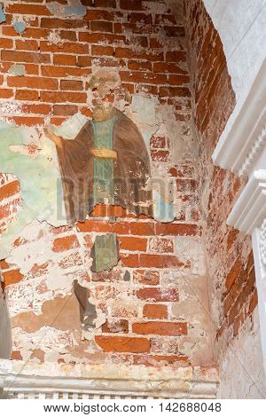 The frescoes in the Trinity over-the-Gate Church in Savvino Storozhevsky monastery Zvenigorod Russia