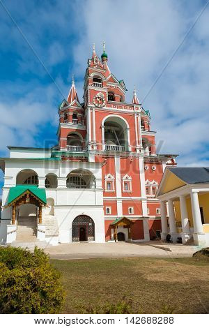 Bell tower and church Savvino Storozhevsky monastery in Zvenigorod in the Moscow region