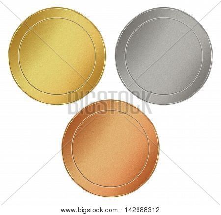 vector set of blank round texture tokens of gold silver bronze which can be used as medals coins stamps
