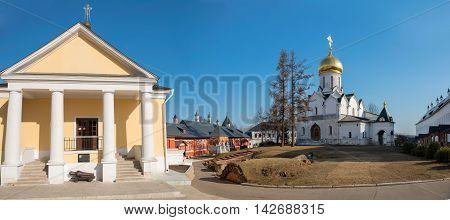 Panorama Savvino-Storozhevsky monastery, city Zvenigorod, Moscow region, Russia.