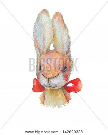 Illustration of cute watercolor bunny toy with butterfly. Turqoise bright background with watercolor texture is good for kid birthday  card, poster or other design.