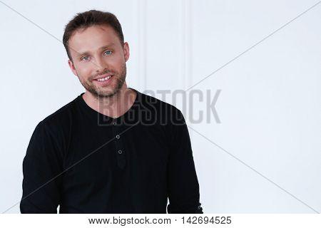 Handsome man in black shirt