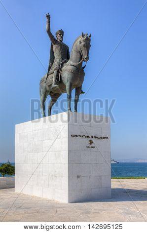 Statue of the last Byzantine emperor Constantine XI Palaiologos (1404-1453 A.D.), Faliro, Greece