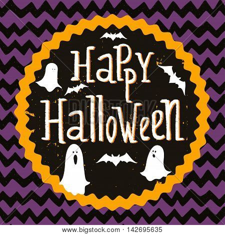 Cute halloween invitation or greeting card template with cartoon ghosts and bats on hand drawn doodle chevron background. Hand written Happy Halloween lettering and round frame for the text.