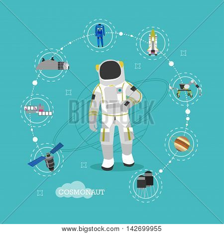 Vector illustration of astronaut in outer space. Man in spacesuit and helmet flat style design. Space objects, planets, satellite, rocket.