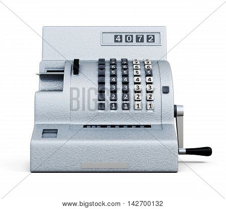 Vintage Cash Register Front View Isolated On White Background. 3D Rendering