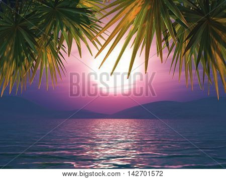 3D render of a sunset ocean landscape with palm tree leaves