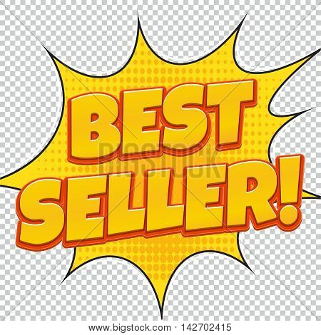 Best Seller. Sale banner. Comic pop art style. Banner design. Banner template. Best product sale. Design of the yellow explosion flyer pop art comic sale discount promotion.