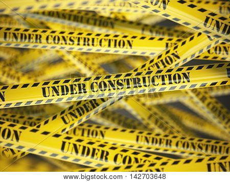Under construction yellow caution  tape background. 3d illustration