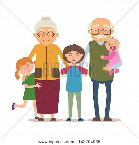 Grandparents with their grandchildren. Vector illustration in cartoon style