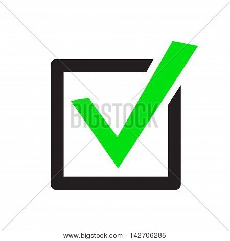 Set of vector buttons with check marks or ticks. checkbox. Web and mobile applications. acceptance positive passed voting. Green. flat design poster