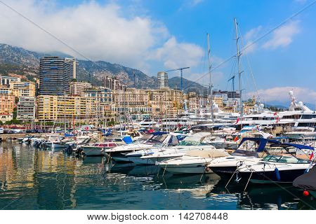 Anchored Boats In The Port Of Monaco