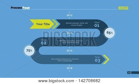 Three phases timeline chart. Element of presentation, chart, step diagram. Concept for business template, infographics, report. Can be used for topics like strategy, workflow, planning, analysis