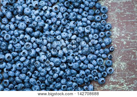 Ripe and fresh picked blueberries close up with copyspace