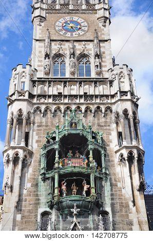 Close up image of the city hall tower on Marienplatz. Munich. Germany.