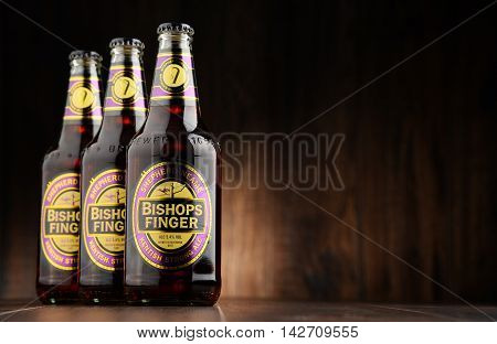 POZNAN POLAND - AUGUST 12 2016: Bishop's Finger is a fine English Ale produced by Shepherd Neame an independent regional brewery located in Faversham Kent England