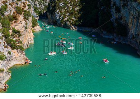 Lac De Sainte Croix And Entrance Of The Verdon Canyon, France