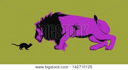 Perseverance Concept with Small Cat Staring at Lion