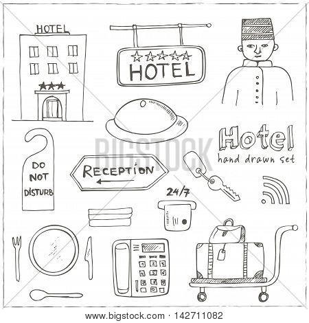 Vector hotel seat Hand drawn doodle sketch illustration