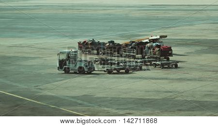 Luggage transportation vehicles  in the international  airport