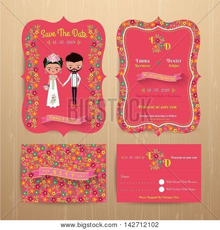 Bride and groom rustic floral wedding invitation card with save the date and rsvp on wood background