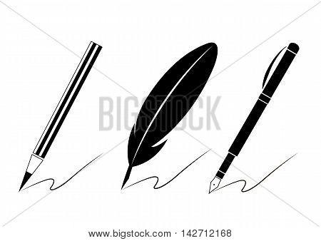 Set of pen icons. Writing materials symbols for your web site design, logo, app, UI. Vector illustration