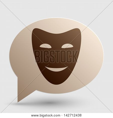 Comedy theatrical masks. Brown gradient icon on bubble with shadow.