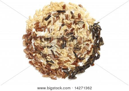 Three Types Of Rice In A Circle