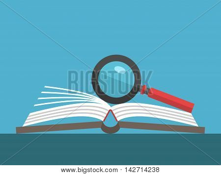 Magnifying glass on open book lying on table on blue background. Education reading knowledge and search concept. Flat design. Vector illustration. EPS 8 no transparency