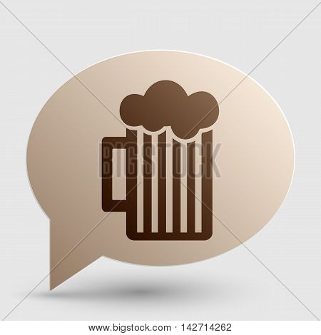 Glass of beer sign. Brown gradient icon on bubble with shadow.