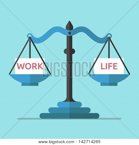Scales weighing work and life on blue background. Balance career time management and stress concept. Flat design. Vector illustration. EPS 8 no transparency